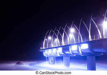 Durban Pier lit up at night - durban pier in umhlanga at...