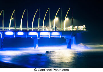 Durban Pierin Umhlanga lit up at night - Umhlanga pier in...