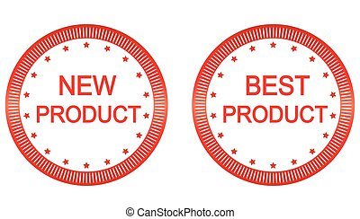 New and best product buttons set in red