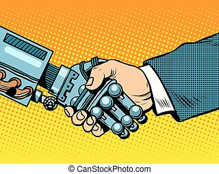 Handshake of robot and man. New technologies evolution -...