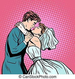 Pair of bride and groom first kiss pop art retro style...