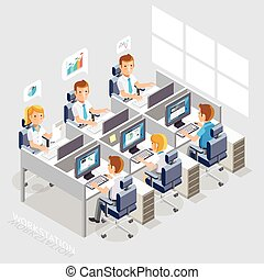 Work Space Isometric Flat Style. Business People Working On...