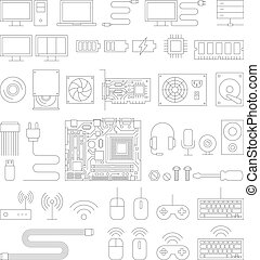 Computer hardware line icons set