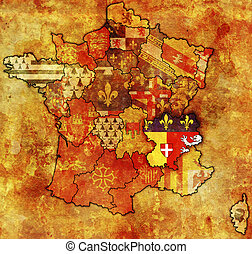 Rhone-Alpes on old map of france with flags of...