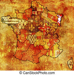 Alsace on old map of france with flags of administrative...