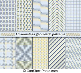 10 seamless abstract geometric patterns in yellow, blue, gray colors