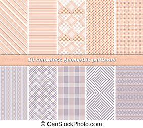 10 seamless abstract geometric patterns in orange and lilac...