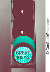 Green traffic light with message GREAT IDEAS - Close up on...