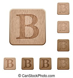 Bold font wooden buttons - Set of carved wooden Bold font...