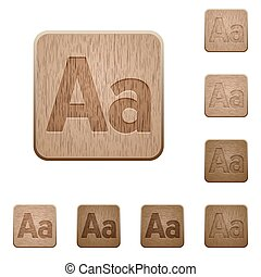 Font size wooden buttons - Set of carved wooden Font size...