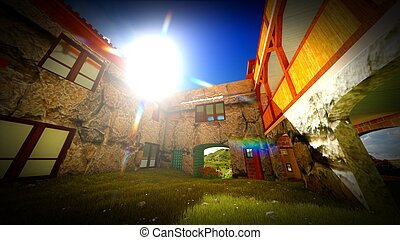 Ancient castle at sunset - Ancient castle in the evening