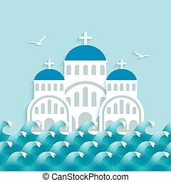 White Greek Church near blue sea