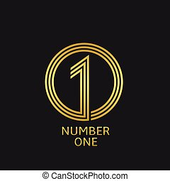 Number one symbol - Number one icon. Golden winner best...