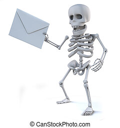 3d Skeleton has mail - 3d render of a skeleton holding an...