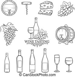 vector hand draw wine icons set on white - Hand draw wine...