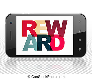 Business concept: Smartphone with Reward on  display