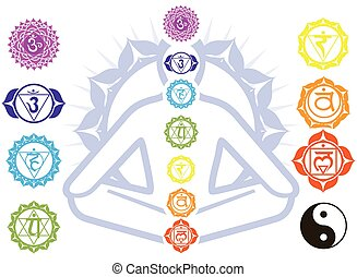 Chakras and spirituality symbols on man in lotus pose