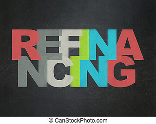 Finance concept: Refinancing on School Board background -...