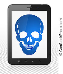 Medicine concept: Tablet Pc Computer with Scull on display -...
