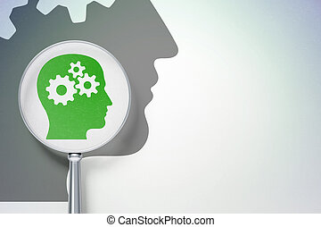 Data concept:  Head With Gears with optical glass on digital background