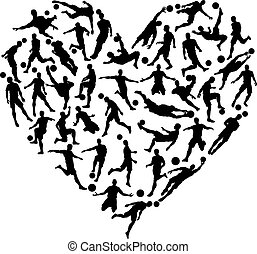 Soccer Football Silhouettes Heart - Soccer football...