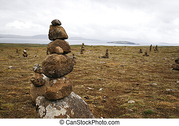 Stone pillar in Iceland - Mysterious pilesof rocks on the...