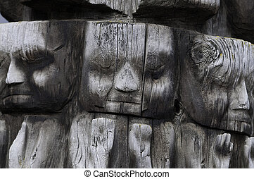 Totem pole faces - Faces in totem pole. It is great for...