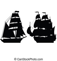 Set of brigantine silhouettes
