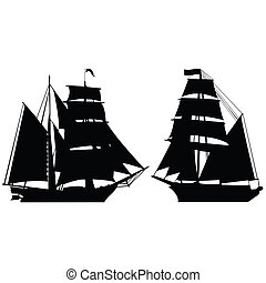 Set of two brigantine silhouettes