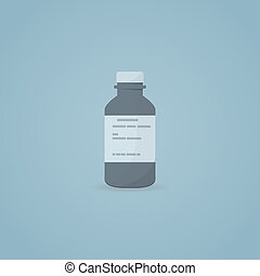 Medicine bottle icon - Flat illustration of medicine syrup...