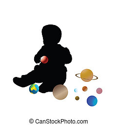 Kid playing with planets
