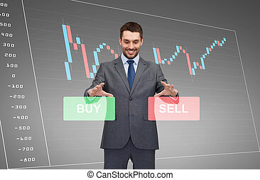 businessman or stock broker over the chart - business,...