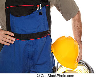 worker with blue work wear and tools