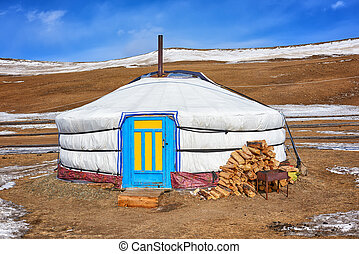 Yurt - home of nomadic peoples of Central Asia. Single yurt