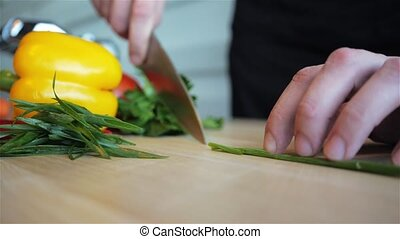 Chopped Green Onions On Wooden Board Close-Up, HD