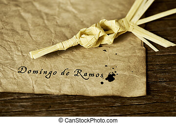 braided palm and text Domingo de Ramos, Palm Sunday in...