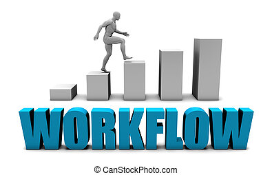 Workflow 3D Concept in Blue with Bar Chart Graph