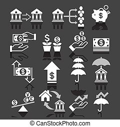 business banking icons - Business banking concept icons set....
