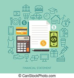 Financial Statement Conceptual Flat Style. Can Be Used For Workflow Layout Template, Banner, Diagram, Number Options, Web Design, Infographics, Timeline.