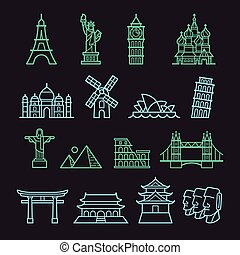 landmark icons - Landmark Icons. Statue of Liberty, Tower of...