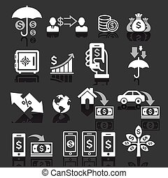 Business banking concept icons set.