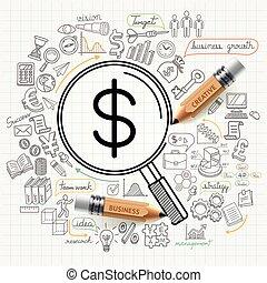 money line idea - Business concept doodles icons set.