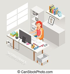 work stations isometric - Work Space Isometric Flat Style....