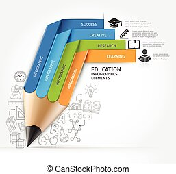 pencil concepts - Education pencil staircase Infographics...