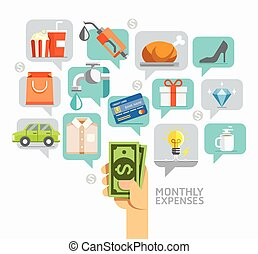Monthly expenses conceptual flat style.  Can be used for workflow layout template, banner, diagram, number options, web design, infographics, timeline.