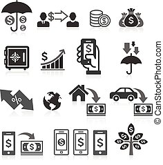 Business banking concept icons set
