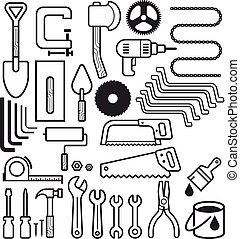 Architecture and construction tool icons set