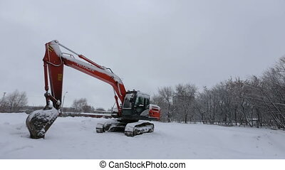 excavator in winter