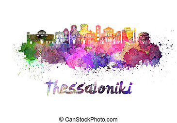Thessaloniki skyline in watercolor splatters with clipping...