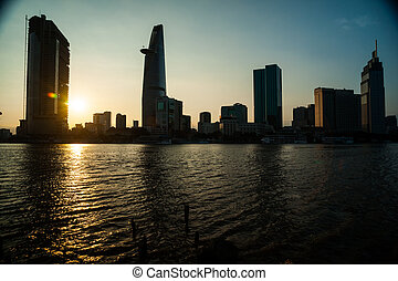 Panorama of Ho Chi Minh viewed over Saigon river...